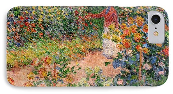 Impressionism iPhone 8 Case - Garden At Giverny by Claude Monet