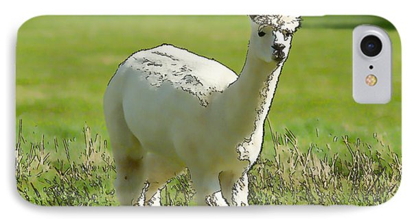 Illustration Of White Alpaca Like Llama Walking In Field Unique And Different IPhone Case