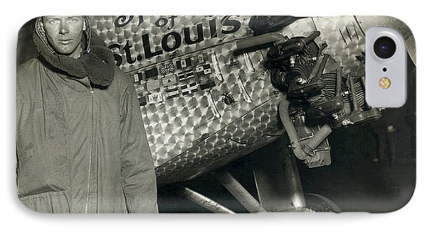 Lindbergh With His Airplane, 1928 IPhone Case