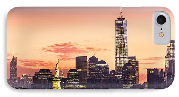 Lower Manhattan And The Statue Of Liberty At Sunrise IPhone Case