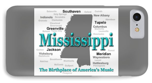 Mississippi State Pride Map Silhouette  IPhone Case