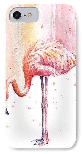 Pink Flamingo Watercolor Rain IPhone Case