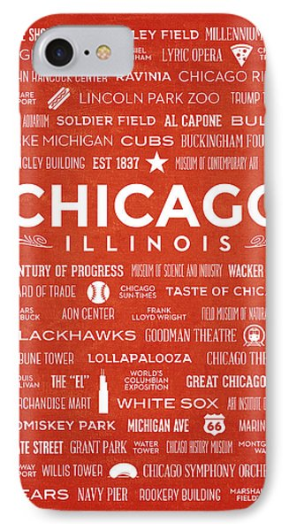 IPhone Case featuring the digital art Places Of Chicago On Orange Chalkboard by Christopher Arndt