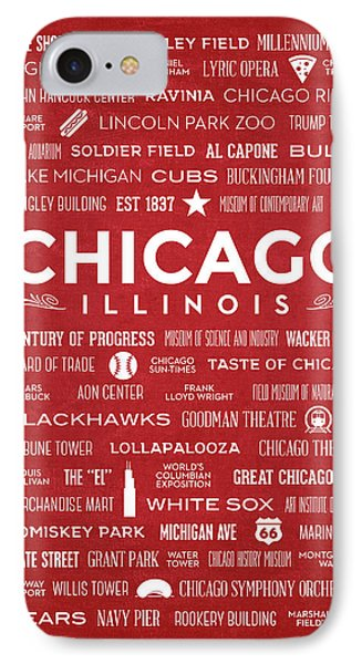 IPhone Case featuring the digital art Places Of Chicago On Red Chalkboard by Christopher Arndt