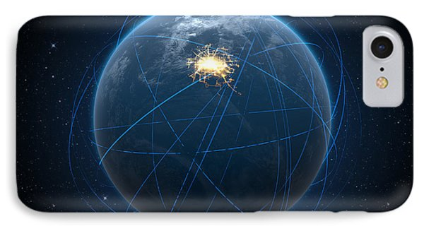Planet With Illuminated City And Light Trails IPhone Case