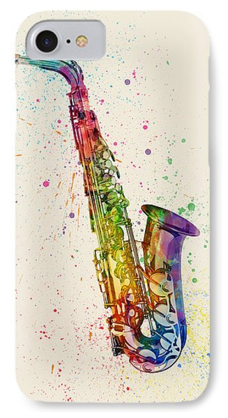 Saxophone iPhone 8 Case - Saxophone Abstract Watercolor by Michael Tompsett