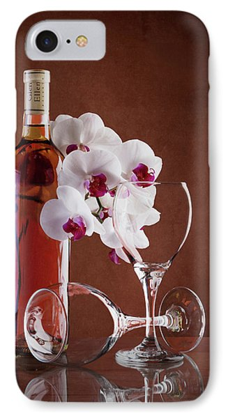 Orchid iPhone 8 Case - Wine And Orchids Still Life by Tom Mc Nemar