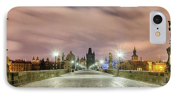 Winter Night At Charles Bridge, Prague, Czech Republic IPhone Case