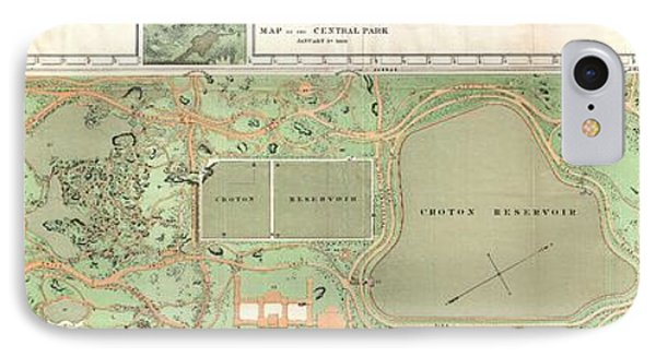 1870 Vaux And Olmstead Map Of Central Park New York City IPhone Case