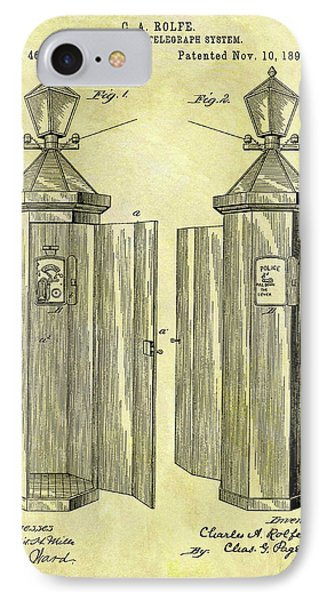 1891 Police Call Box Patent IPhone Case