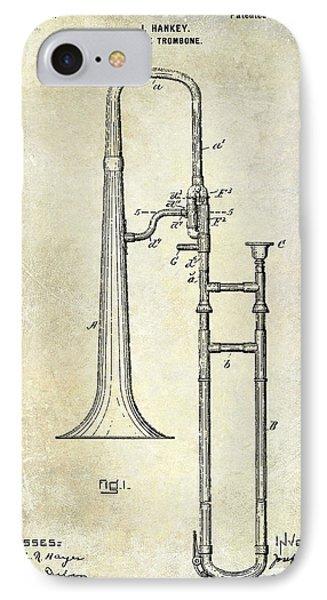 Trombone iPhone 8 Case - 1902 Trombone Patent by Jon Neidert