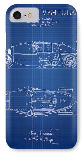 1917 Racing Vehicle Patent - Blueprint IPhone Case