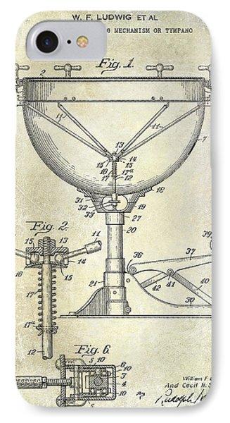 Drum iPhone 8 Case - 1941 Ludwig Drum Patent  by Jon Neidert