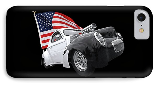 1941 Willys Coupe With Us Flag IPhone Case