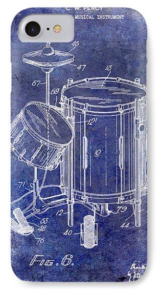 Drum iPhone 8 Case - 1951 Drum Kit Patent Blue by Jon Neidert