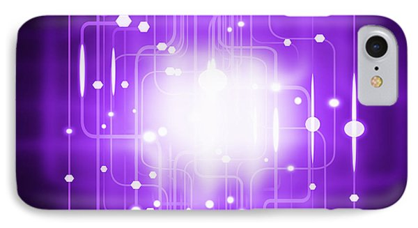 Fluorescence iPhone 8 Case - Abstract Circuit Board Lighting Effect  by Setsiri Silapasuwanchai