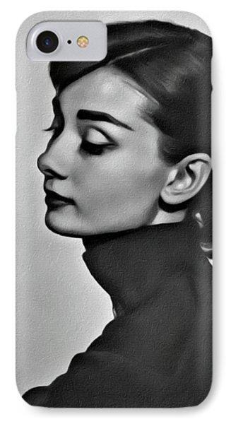 Audrey Hepburn, Digital Art By Mary Bassett IPhone Case