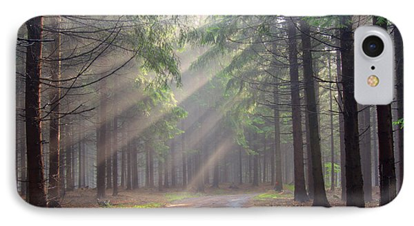 God Beams - Coniferous Forest In Fog IPhone Case