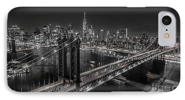 New York City, Manhattan Bridge At Night IPhone Case