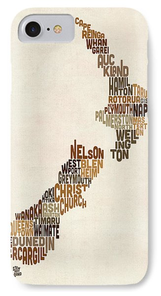 New Zealand Typography Text Map IPhone Case
