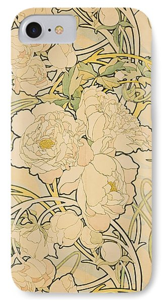 Flowers iPhone 8 Case - Peonies by Alphonse Mucha