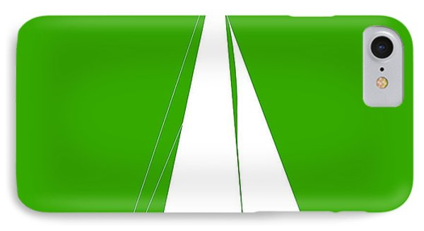 Sailboat In Green And White IPhone Case