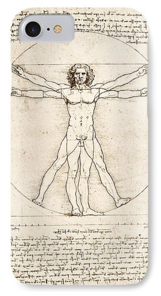 Shapes iPhone 8 Case - The Proportions Of The Human Figure by Leonardo Da Vinci
