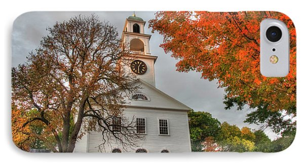 IPhone Case featuring the photograph White Church In Autumn by Joann Vitali