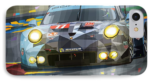 Car iPhone 8 Case - 2015 Le Mans Gte-am Porsche 911 Rsr by Yuriy Shevchuk