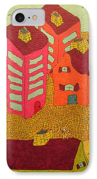 5 Bldgs Cat On One Roof IPhone Case