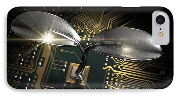 Macro Circuit Board With Futuristic Plant IPhone Case