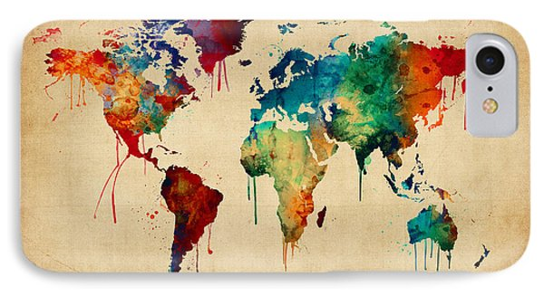 Watercolor Map Of The World Map IPhone Case
