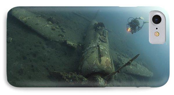 Diver Explores The Wreck IPhone Case