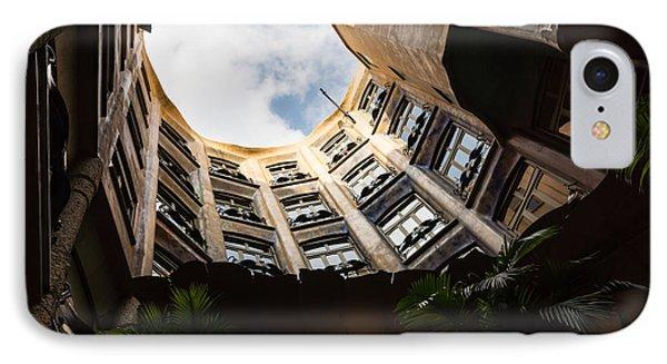 A Courtyard Shaped Like A Hug - Antoni Gaudi La Pedrera Or Casa Mila In Barcelona Spain IPhone Case