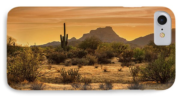 IPhone Case featuring the photograph A Golden Sunset On The Sonoran  by Saija Lehtonen