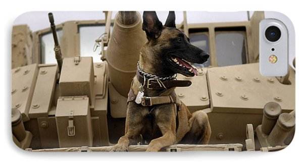 A Military Working Dog Sits On A U.s IPhone Case