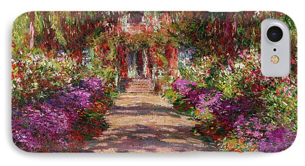 Impressionism iPhone 8 Case - A Pathway In Monets Garden Giverny by Claude Monet