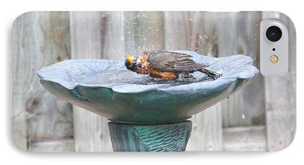 A Robin Enjoying A Bath IPhone Case