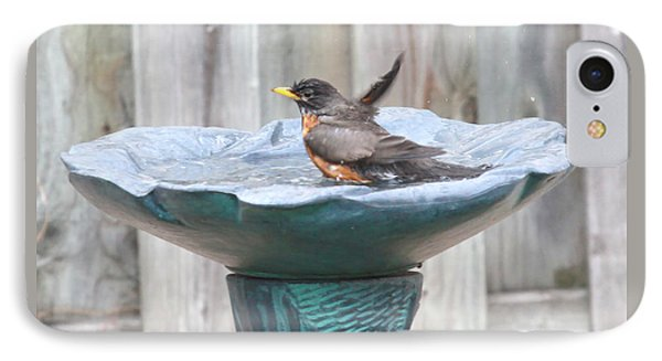 A Robin Having A Vigorous Bathhugh Mcclean IPhone Case