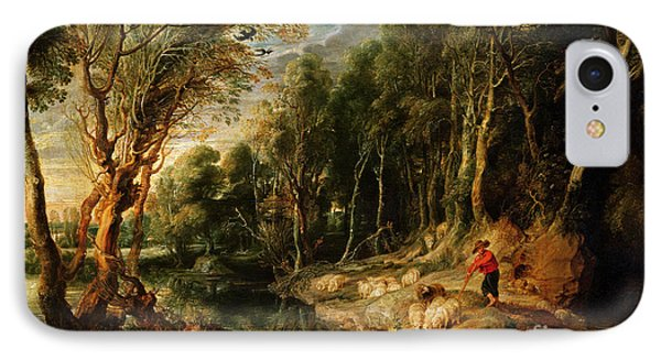 A Shepherd With His Flock In A Woody Landscape IPhone Case