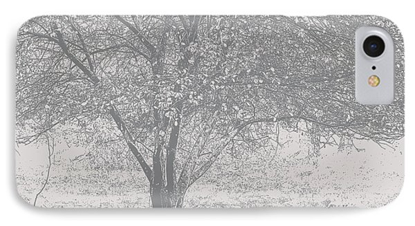 A Single Tree In Autumn In Grey And White IPhone Case
