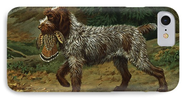 A Wire-haired Pointing Griffon Holds IPhone Case