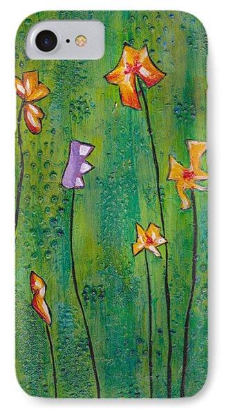 Abstract Flowers Orange, Purple IPhone Case