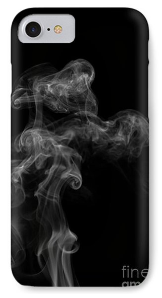 Abstract Vertical Monochrome White Mood Colored Smoke Wall Art 04 IPhone Case