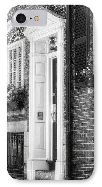 Acorn Street Door And Windows Bw IPhone Case