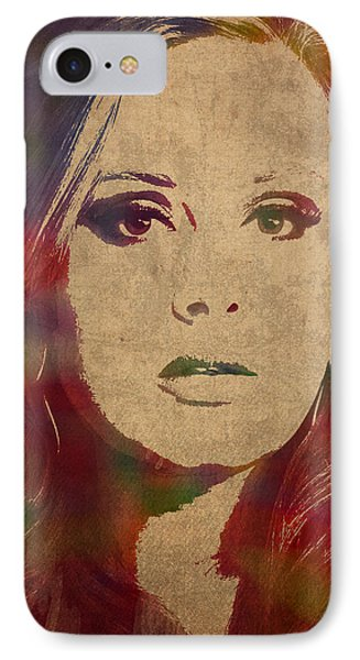 Adele Watercolor Portrait IPhone Case