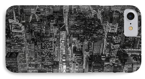 Aerial New York City 42nd Street Bw IPhone Case