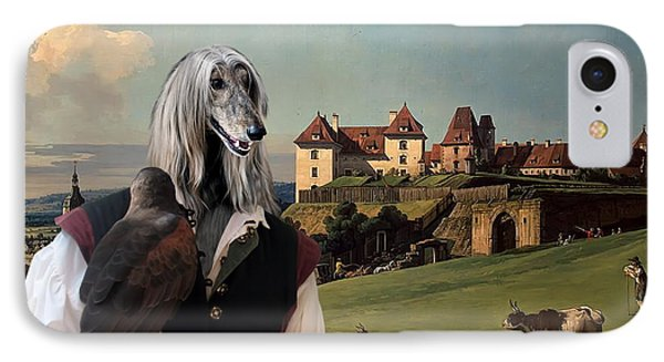 Afghan Hound-falconer And Castle Canvas Fine Art Print IPhone Case