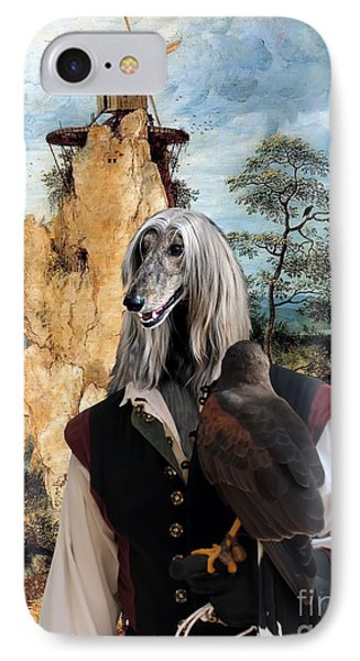 Afghan Hound-falconer And Windmill Canvas Fine Art Print IPhone Case