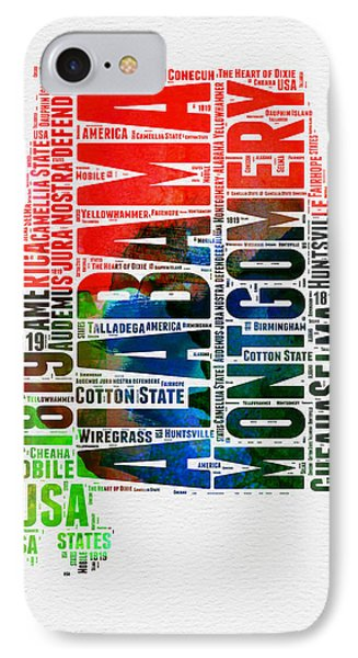 Alabama Watercolor Word Cloud  IPhone Case